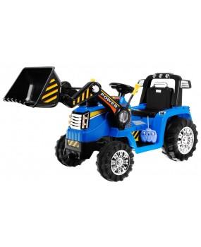 Elektrický traktor s lyžicou modrý